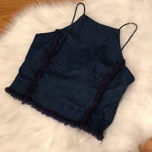 Blue Jean Halter Crop Top w Frayed Edges
